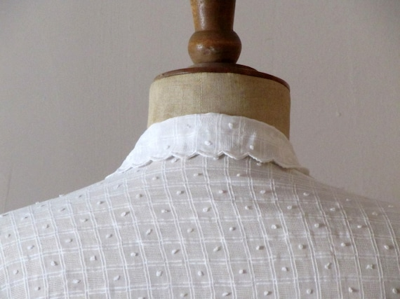 """vintage1950s white sheer embroidered """"MM"""" initials handmade shirt"""