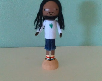 Bob Marley Clothespin Doll - MADE TO ORDER