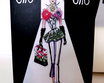 Flora Catwalk Couture Greeting Card With Swarovski Crystals By JTR Luxe