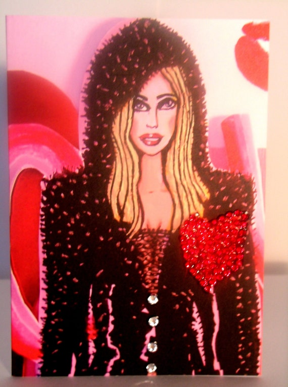 Love Is In The Air - Fashion Greeting Card  - With Swarovski Crystals