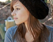 Black Cable Knit Slouch Hat