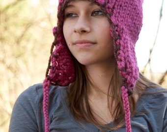 Hand Knit Pink Ear Flap Hat with Brown Trim