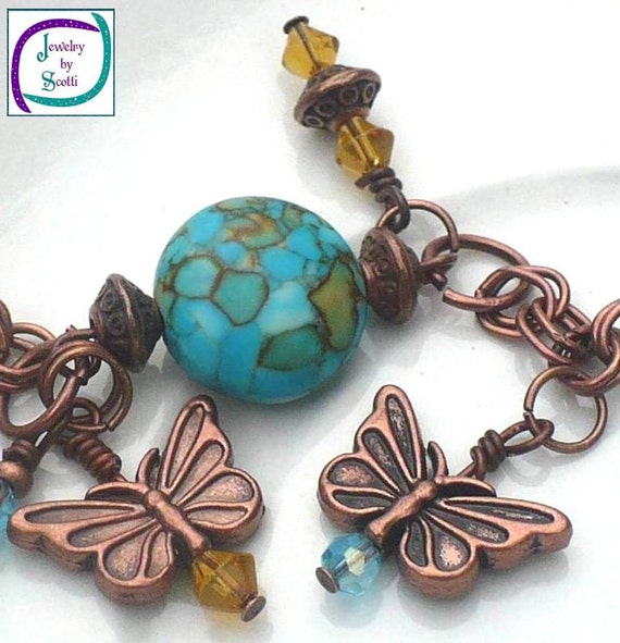 Mosaic Turquoise Copper Chain Butterfly Charm Bracelet