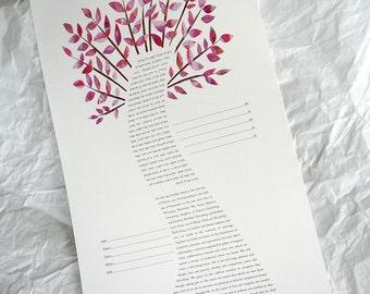 Ketubah - Fuchsia Tree of Life