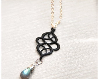 Necklace, Labradorite gemstone on Sterling Silver -Casablanca