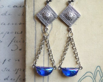 Art Nouveau Earrings, Under the Moonlight, sapphire blue vintage crescent moon jewels on oxidized sterling silver