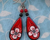 Handpainted Elegant Earrings, White on Red Floral Pattern with Assorted Beads (made to order)