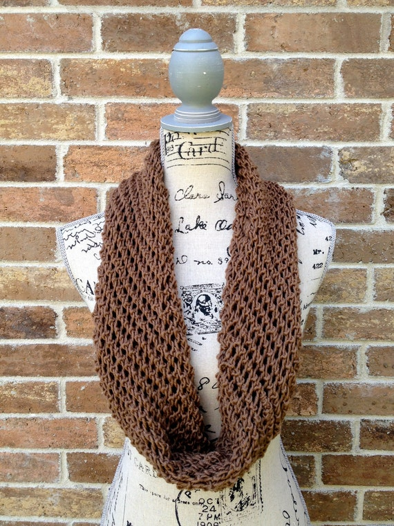 Cyber Monday Lacy Brown Infinity Scarf, Cowl, Head Wrap - Unisex
