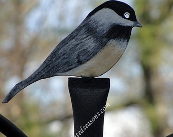 Chickadee Finial: Hand Painted, Wrought Iron