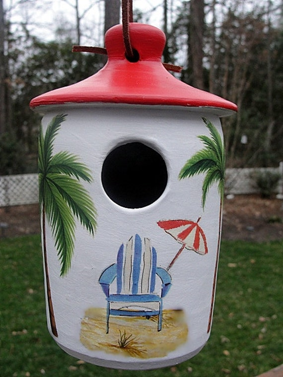 Painted Birdhouse with Beach Scene,Outdoor