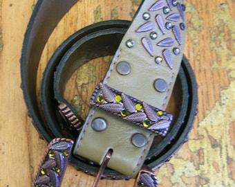 SALE- Olive leaf belt with Swarovski olivine and tabac stones