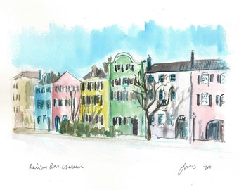 Rainbow Row, Charleston - print from an original watercolor