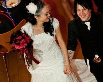 Hollywood Glam - Rhinestone White or Ivory Feather Fascinator, Rhinestone Hair Clip, Bridal Fascinator, Fascinator, Wedding Veil