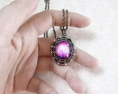 Violet Daze-- Small Wearable Art Locket-Valentine's Gift.photo locket