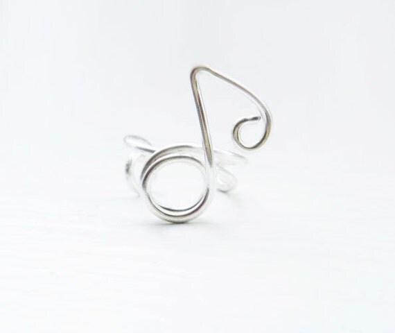 Ear Cuff Silver Music Note Earwrap Earcuff Adjustable No Piercing