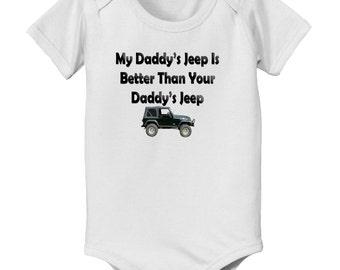 My Daddys Truck is better than your daddys Jeep baby infant bodysuit - dad loves trucks bodysuit - truck bodysuit