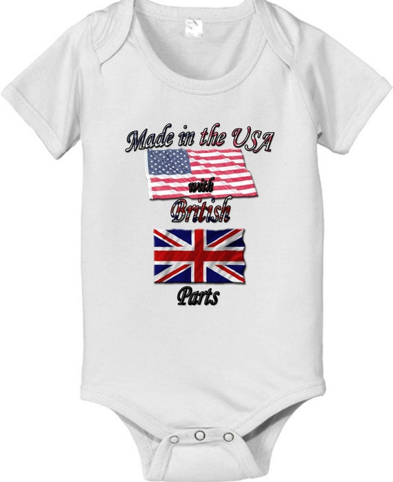 short sleeve and long sleeve Made in the USA with British Parts baby infant bodysuit
