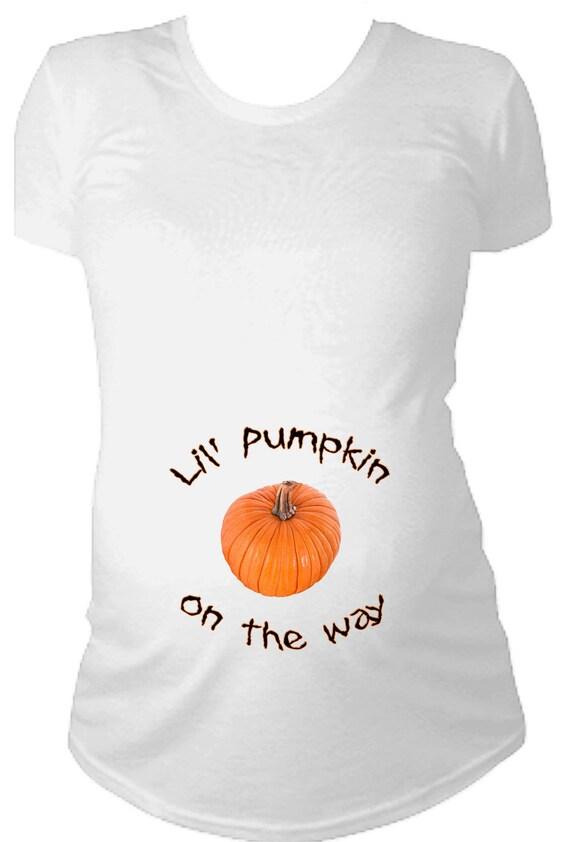 Lil' pumpkin on the way Halloween Maternity t-shirt