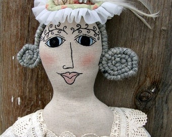 Art Doll Shabby Chic Vintage Style French Style Cloth Doll- Lady Lenore SALE!!