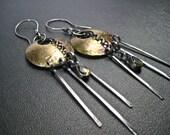 Citrine Gemstone Earrings/ Brass and Silver Earrings/ Dangle Earrings Mixed Metal Jewelry