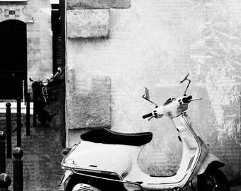 Paris Photography, Paris Black and White, Fine Art Photography, Paris Vespa, 12x12 Print