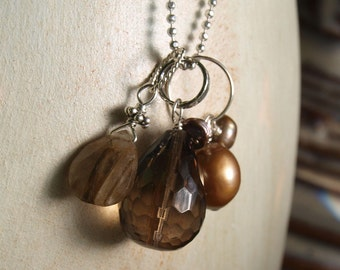 Brown Pearl Cluster Charm Pendant