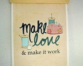Art for Quilters and Sewing Rooms // And Make it Work // Fashion Designers, Quilters, Project Runway, Typography Poster Art Print