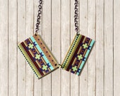 Fall Fashion Chevron Geometric Tribal Boho Jewelry Necklace - One Dog Night Collection - One of  a Kind Art Necklace