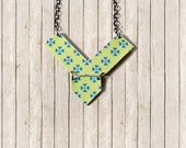 Chevron Statement Necklace Original Art One of a Kind - One Dog Night Collection - OOAK Boho Pendant Retro Gunmetal Chain