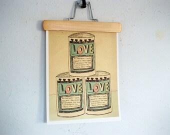 Canned Love // Illustration, Typographic Print, Kitchen Art, Bathroom Art, Art Poster, Digital Print, Whimsical, Romance, Humor