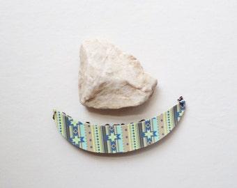Tribal Chic Cresent Statement Bib Necklace - One Dog Night Collection - OOAK Boho Pendant Retro Gunmetal Chain
