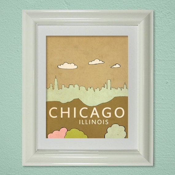 Wall Art Print Kids Room Nursery Art// Chicago No.4// Travel City Skyline Illustration and Typography Poster