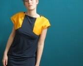 50 % DISCOUNT colorblock dress cap sleeve marine blue/ deep yellow