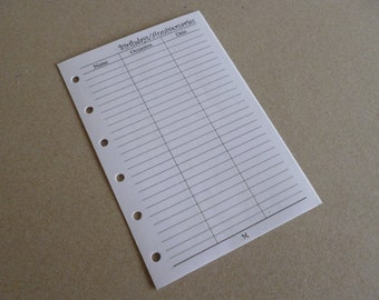 Birthday/Anniversary inserts - Fits Filofax or Organiser - white - personal/pocket/mini