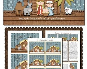 E Christmas Nativity Art with Bookmarks, Art and Treat Tags - Printable INSTANT DOWNLOAD