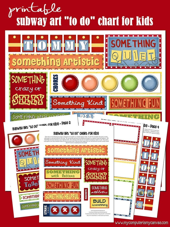 """Subway Art """"To Do"""" Chore Chart, Boredom Buster - Printable INSTANT DOWNLOAD"""