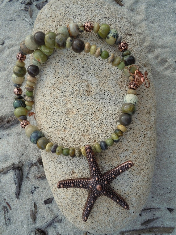 SALE!! Green Oceans Turquoise and Copper Starfish Necklace