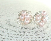 Elegance Collection Rosaline - Wire Wrapped Stud Earrings - Rosaline / Light Pink Swarovski Glass Pearl Stud Earrings - VDazzled
