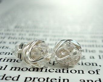 Wire Wrapped NANO Stud Earrings- Clear Swarovski Crystal Beads on Silver Wire post earrings
