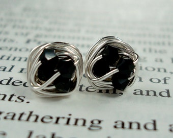 Wire Wrapped NANO Stud Earrings- Jet / Black Swarovski Crystal Beads on Silver Wire