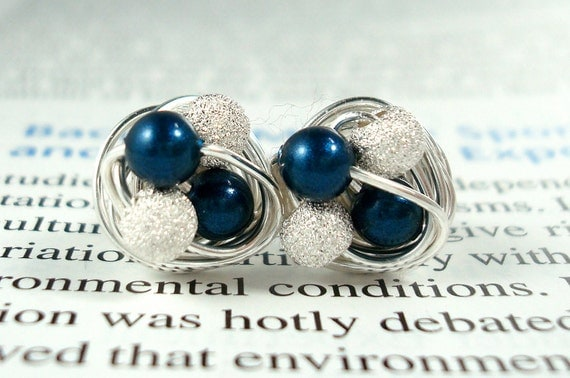 Petite Petrol/Star Dust - Mix It Up Series- Swarovski Glass Pearl and Stardust bead Wire Wrapped Stud Earrings