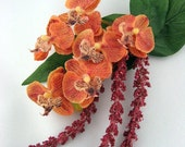 Orange, Peach Orchids Accented with Magenta Floral Plumes / Life Like, Tropical Wedding Beach Bridal Hair Clip Accessory - SWEPT AWAY -