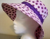 Sunhat - Pink with Purple Flowers