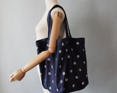 "Navy ""Etoile"" Sqaure Shopper Shoulder Bag , Hand-printed in White on Indigo Natural Dyed Cotton Feedsack Fabric"