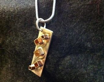 Silver Pendant with Brass Cubes