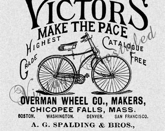 Vintage Bicycle Ad Instant Download for Iron On Image Transfer for Burlap, Tote Bags, Tea Towels, Pillows 135