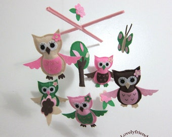 Awesome Baby Owls Mobile - Baby Mobile - Flowers Nursery Crib mobile - Owls Matching Your Bedding (Choose Your Felt Color)
