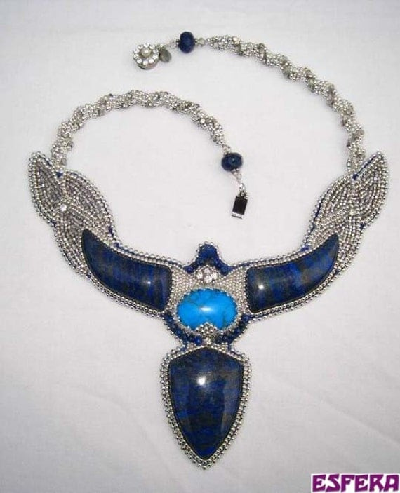 Statement necklace, bead embroidery, with lapis lazuli, Swarovski crystal and silver metal seed beads-free shipping
