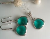 Teal Necklace and Earring Matching Set, Bridal Bridesmaids Necklace and Earrings, Wedding Jewelry