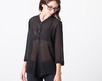 Semi sheer blouse, black blouse, button down shirt, elegant, collar top, Buttoned Shirt, black Collared Shirt, loose fit, minimalist shirt